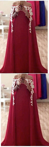Appliqued Lace Long Evening Dresses Formal Prom Gown With Cape , D0860