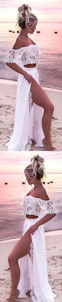 Two piece long prom dress, white off the shoulder formal dress, fashion high slit party dress with lace, D0861