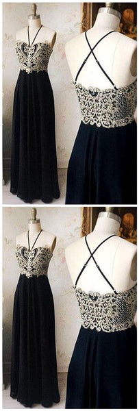 Fashion A-Line Prom Dress,Spaghetti Straps Black Prom Dresses,Long Prom Dress With Appliques, D0863