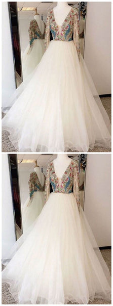 Beading Prom Dress Long Sleeve Rhinestone Sexy V-neck Prom Dress/Evening Dress,D0868