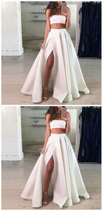 Two Piece Strapless Split Front White Long Prom, D0871