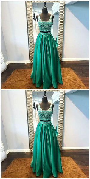 Two Piece Scoop Floor-Length Green Satin Beaded Prom Dress, D0873