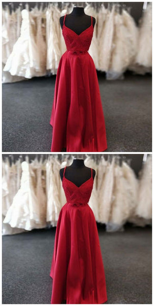 Two Piece A-Line Spaghetti Straps Red Satin Prom Dress With Lace Beading,D0874