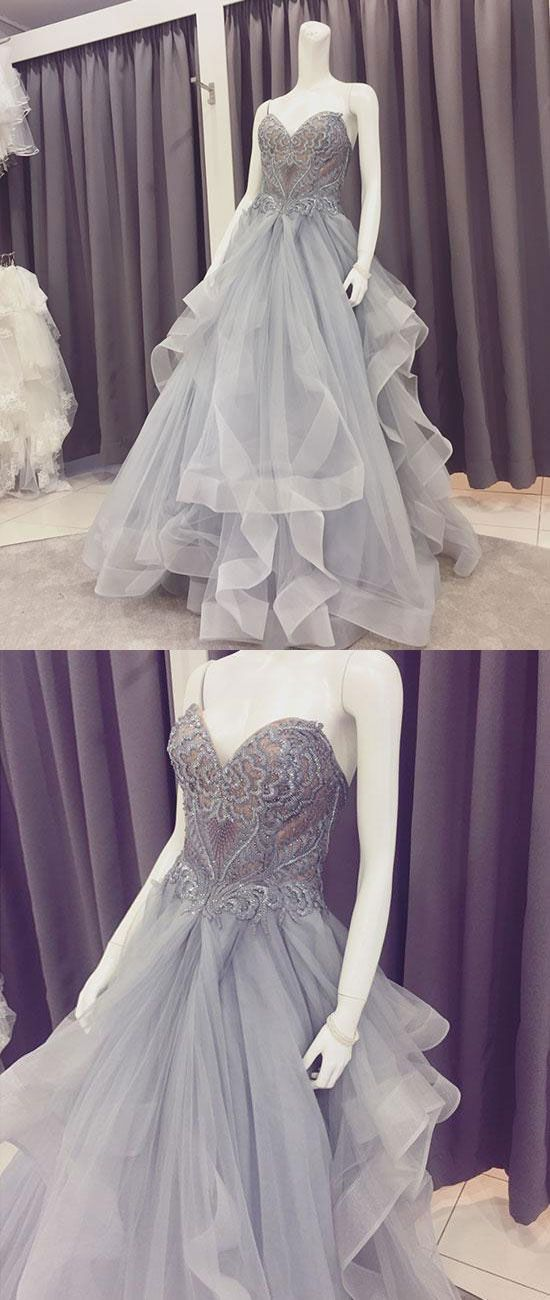 Gray Lace Tulle Long Prom Dress, Sweetheart Neck Evening Dress,D0883