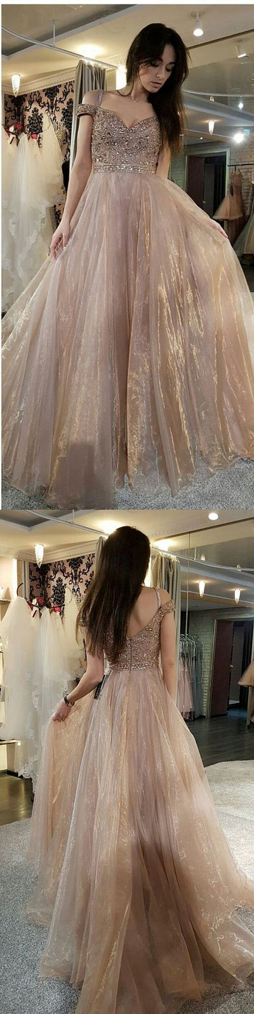 Gorgeous Off the Shoulder Brown Long Prom Dress,D0887