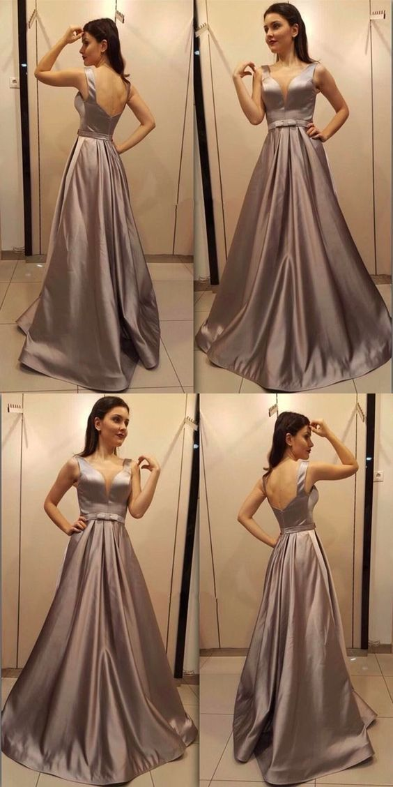 Simple Chocolate A Line V Neck Backless Long Prom Dress, D0890