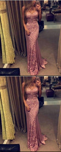 Pink Lace Prom Dress,Mermaid Prom Dress,Custom Made Evening Dress,D0891