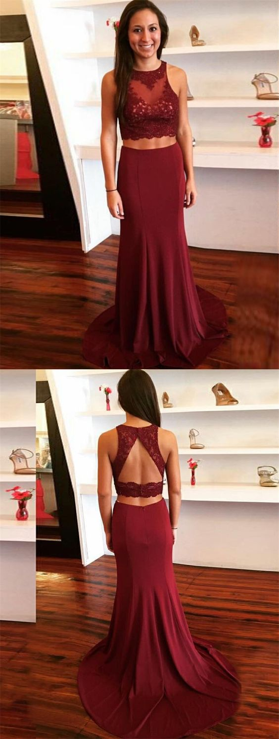 Sheath Two Piece Round Neck Maroon Spandex Prom Dress with Lace, D0892