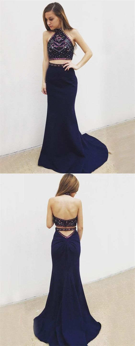 Two Piece Halter Backless Navy Blue Long Prom Dress with Beading Embroidery,D0893