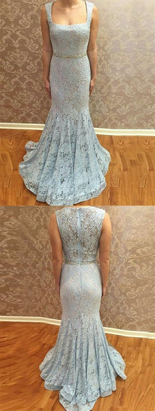Mermaid Square Neck Sweep Train Blue Lace Prom Dress with Beading, D0894