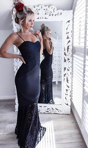 Mermaid Spaghetti Straps Navy Blue Elastic Satin Prom Dress with Lace,D0895
