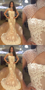 Mermaid Cap Sleeves Appliques Pearls Light Champagne Prom Dress with Keyhole, D0896