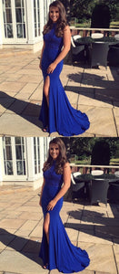 Mermaid Round Neck Royal Blue Spandex Prom Dress with Beading Split, D0898