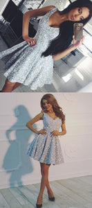 A-Line Deep V-Neck Sleeveless Grey Lace Short Homecoming Dress, D0900
