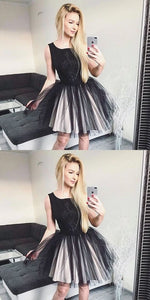 A-Line Round Neck Black Tulle Homecoming Dress with Lace,D0901