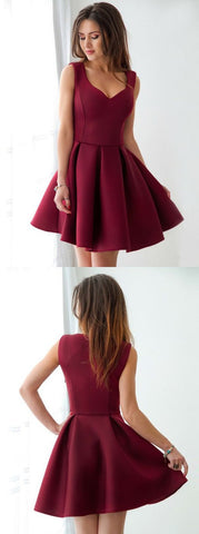 A-Line Scoop Short Pleated Dark Red Satin Homecoming Dress, D0902