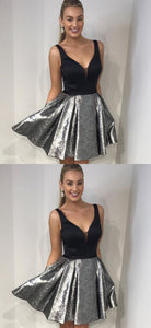 A-Line V-Neck Black Satin Pleated Short Homecoming Prom Dress with Pockets,D0903
