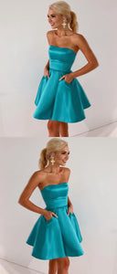 A-Line Strapless Ice Blue Satin Homecoming Dress with Pockets, D0905