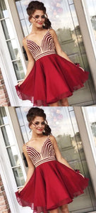 A-Line V-Neck Sleeveless Red Chiffon Homecoming Party Dresses, D0907