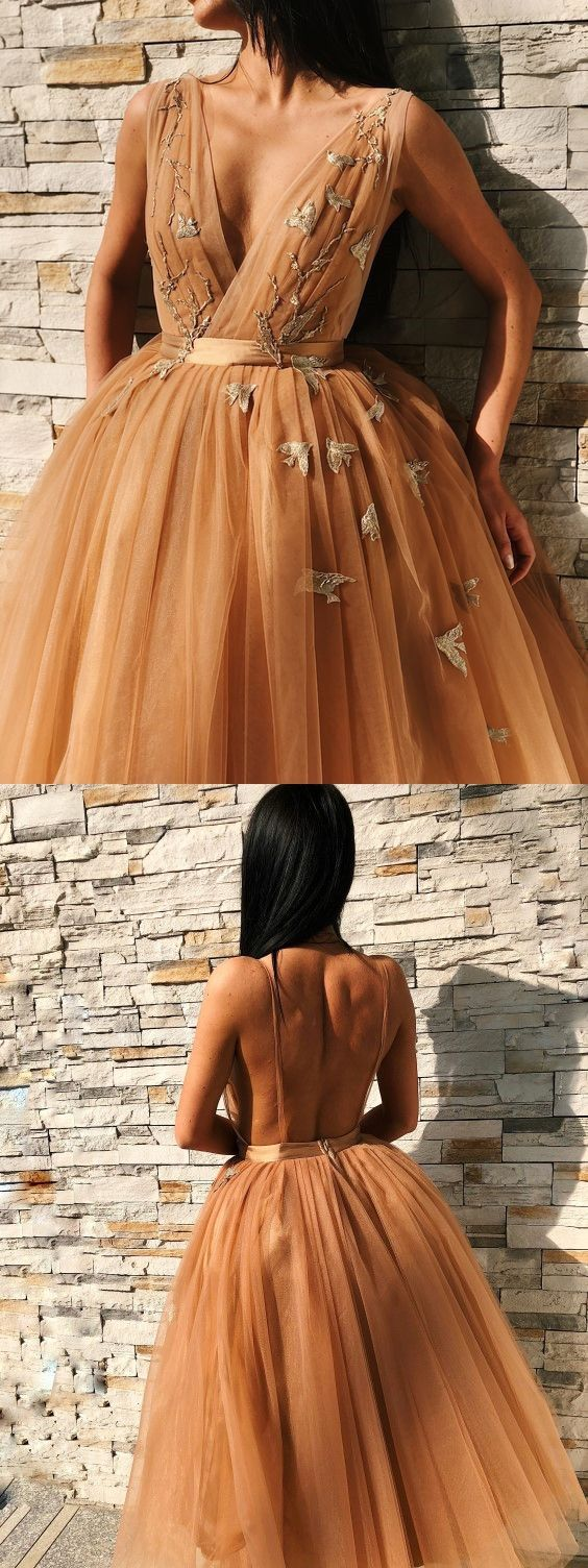 A-Line V-Neck Backless Gold Tulle Homecoming Dress with Appliques, D0911