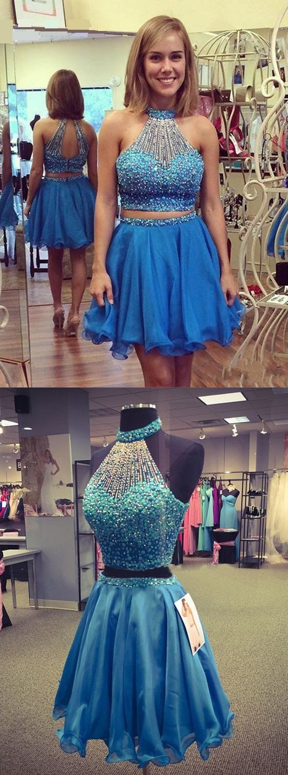 Two Piece Key Hole Back Sleeveless Short Sky Blue Homecoming Dress with Pearl,D0914