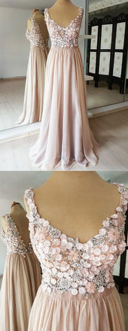 A-line V-neck Flower Beading Appliques V-back Long Chiffon Prom Dresses, D0917