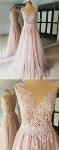 A-line Round Neck Sleeveless Lace Appliques Beading Long Tulle Prom Dresses,D0918