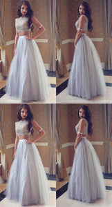 2019 New Popular Two-Pieces Silver Tulle Party Gowns With Jewel, Sleeveless Long Party Gowns, D0921