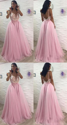 Long Prom Dresses V-Neck Backless A-Line Evening Formal Dresses,D0922
