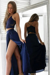 2 Pieces Royal Blue Lace Chiffon Long Simple Cheap Elegant Prom Dresses, D0923