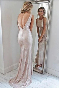 Backless Pink Scoop Neckline Backless Sheath Prom Dresses Party Dresses, D0925