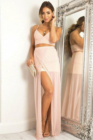 Simple Cheap 2 Pieces Long Spaghetti Straps Chiffon Casual Prom Dresses, D0926