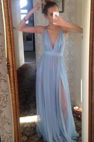 Sky Blue Simple V-neck Long A-line Flowy Tulle Prom Dresses For Teens , D0927