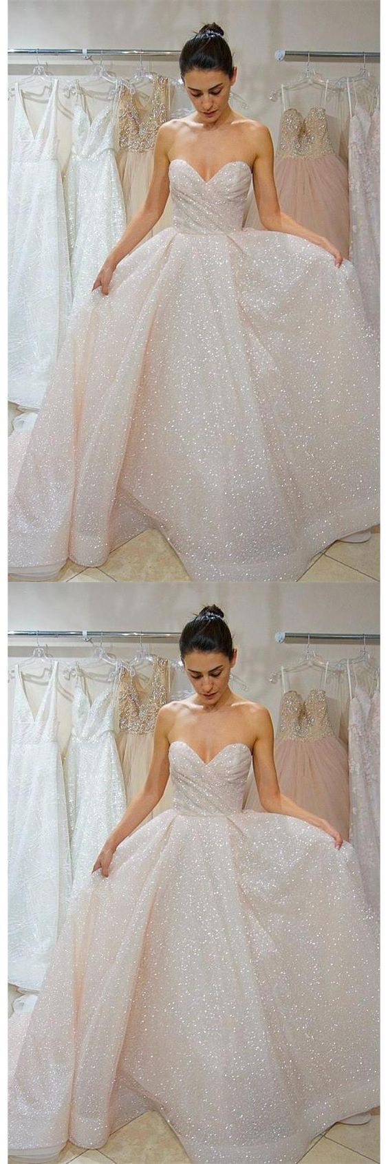Sweetheart Elegant Lace Up Long Sparkly Wedding Dresses Prom Dresses , D0929