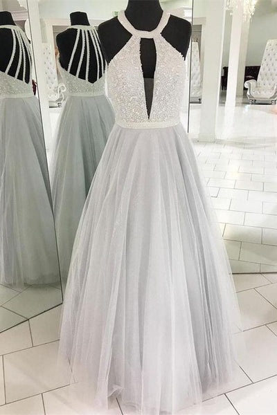 Pretty Ivory And Silver Beading Tulle Elegant Long Prom Dresses Evening Dresses , D0931