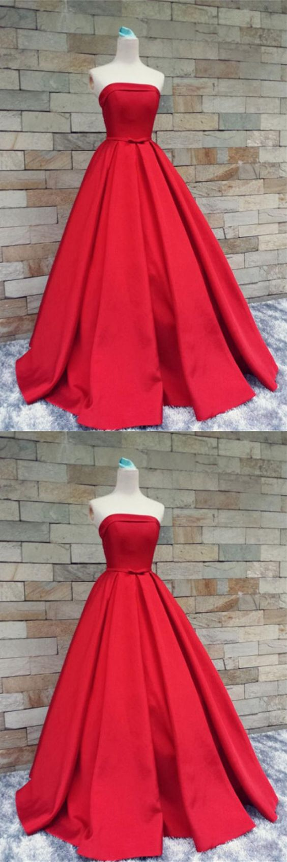 Red Satin Prom Dresses,Strapless Long Prom Gowns,Evening Gowns,Handmade Party Prom Dresses,Modest Prom Gowns, D0935