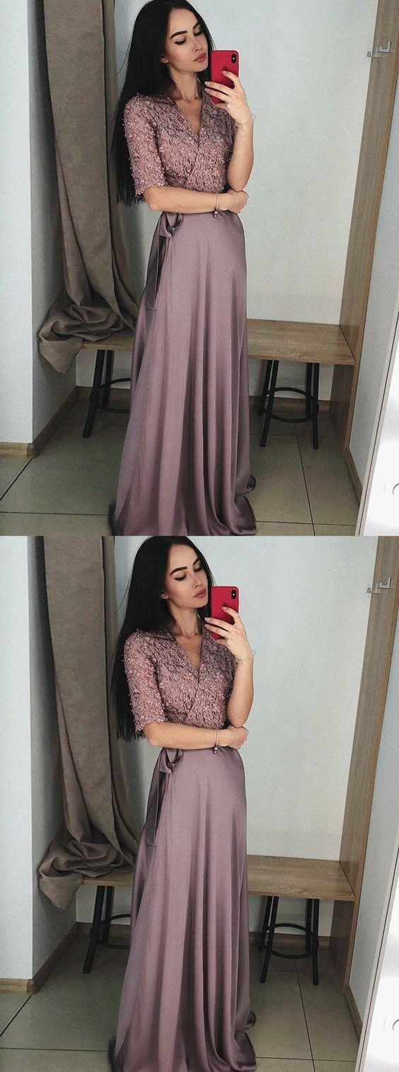 V-Neck Half Sleeves Purple Cheap Soft New Design Prom Dresses with applique, Evening dress, Party Dress, D0936