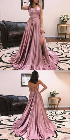 Rose Pink Prom Dress V Neck Sweep Train Formal Evening Gown With Spaghetti Straps , D0937