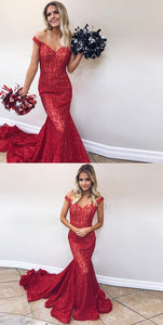 2019 Elegant Mermaid Prom Dress Red Off The Shoulder Formal Evening Gown With Sweep Train, D0938