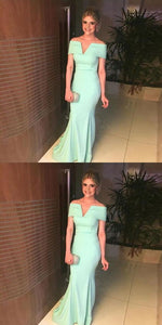 Mint Off The Shoulder Prom Dresses Mermaid Formal Evening Gown With V Cut, D0940