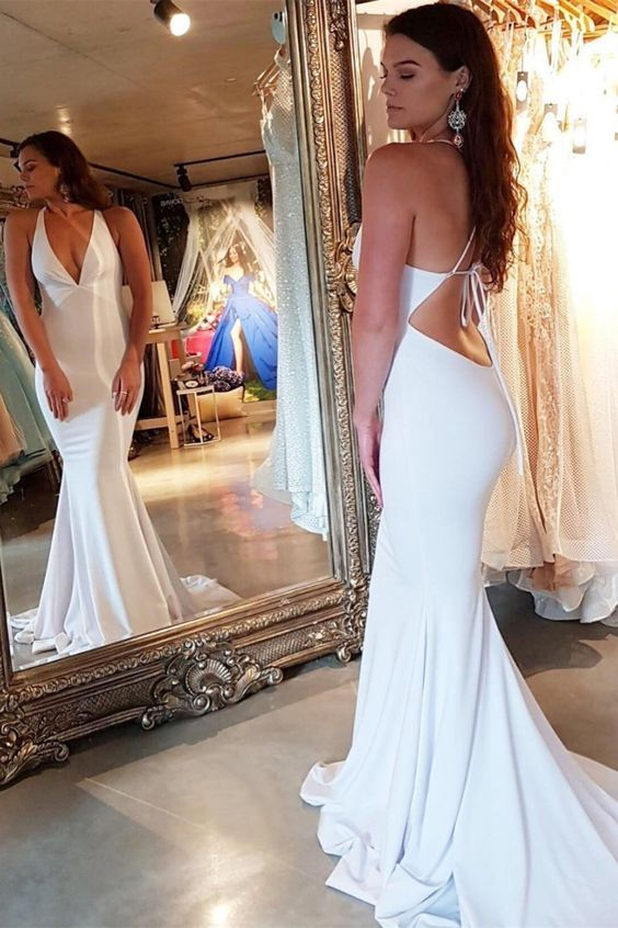 Sexy White V Neck Evening Dress White Mermaid Formal Prom Gown With Open Back, D0941