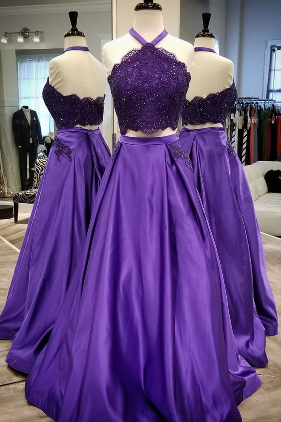 Halter Two Piece Prom Dress Purple Formal Evening, D0943