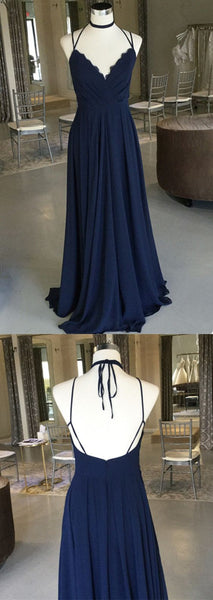 Navy Blue V Neck Chiffon Bridesmaid Dress Floor Length Party Dress With Ruched Bodice, D0946