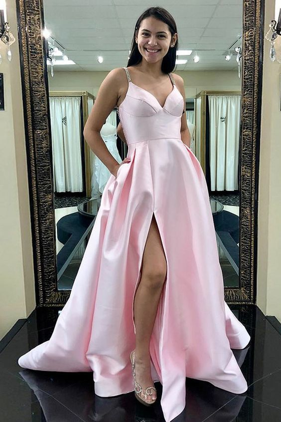 New Arrival V Neck Prom Dress Pink Floor Length Slit Formal Evening Gown With Straps, D0947