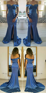 Blue Off The Shoulder Pageant Gown,Prom Dress With Slit And Ruffles, D0948