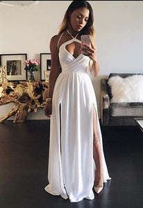 Custom Made White Halter Long Party Dress, Chiffon Slit Prom Dress With Cut Out Bodice, D0951