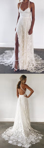 Charming Backless Lace Evening Dress, Split Slit Long Prom Dress, Sexy Lace Party Gown, D0961