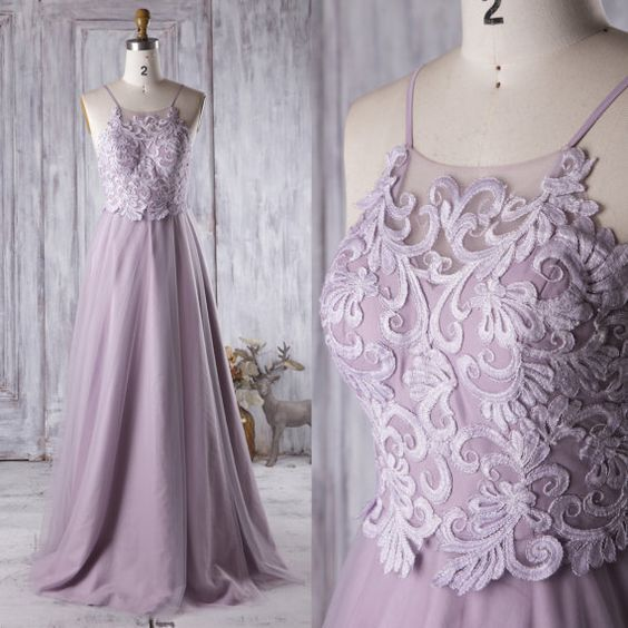 Bridesmaid Dress Light Purple Tulle Dress,Wedding Dress,Spaghetti Strap Prom Dress, D0963