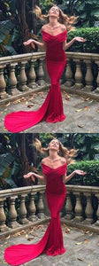 Mermaid Off-the-Shoulder Sweep Train Party Dress, Ruched Red Spandex Prom Dress, D0964