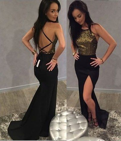 Sexy Black Prom Dress, Open Back Prom Dresses, Sleeveless Mermaid Evening Dress, D0967